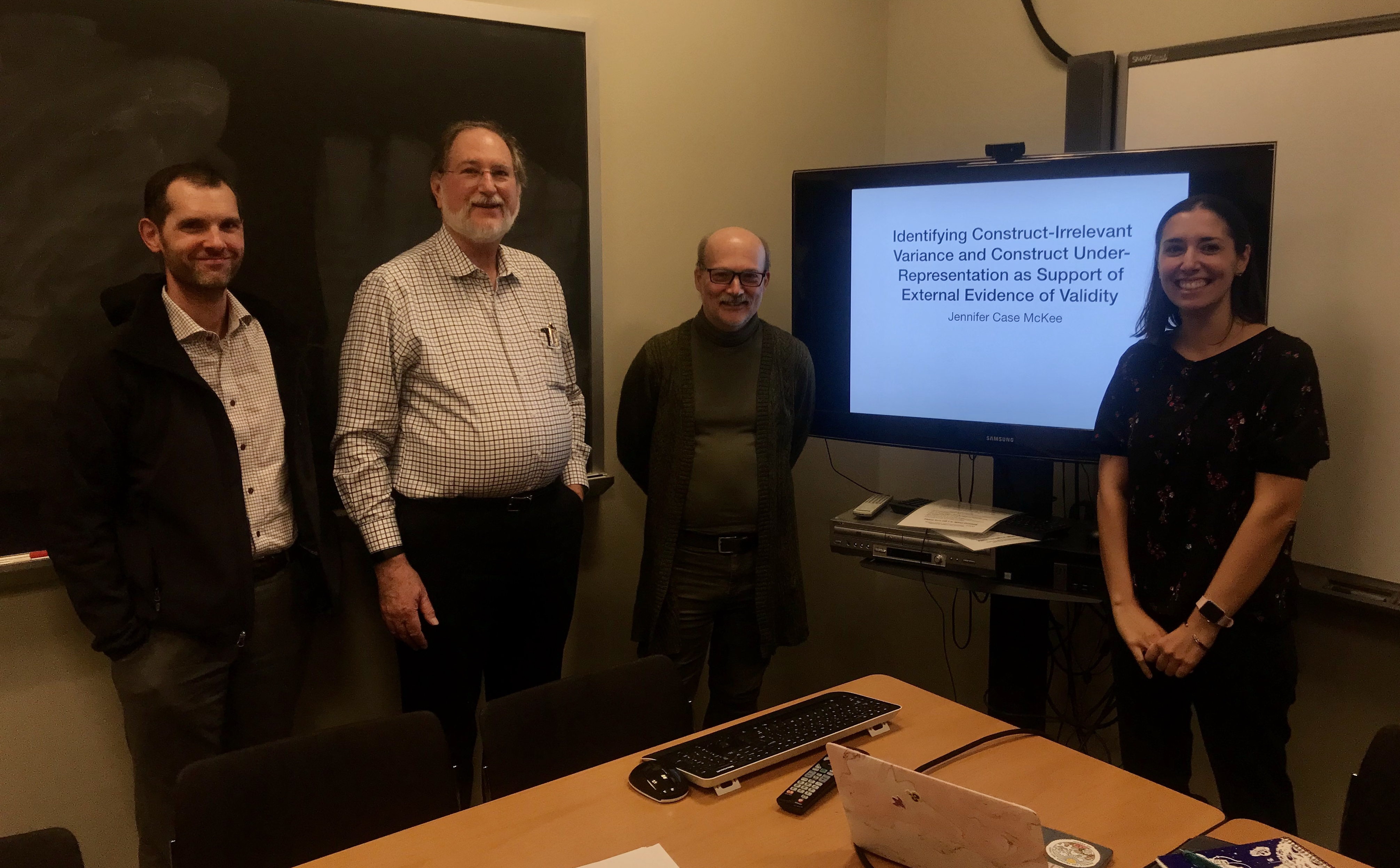 Jennifer Case McKee with her dissertation committee. From left: Dr. David Rindskopf, Dr. Keith Markus, and Dr. Jennifer Case McKee