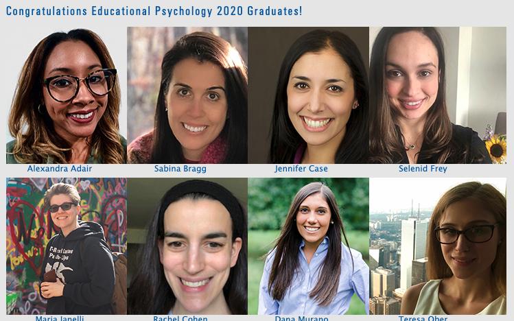 2020 Graduates of the Educational Psychology PhD Program