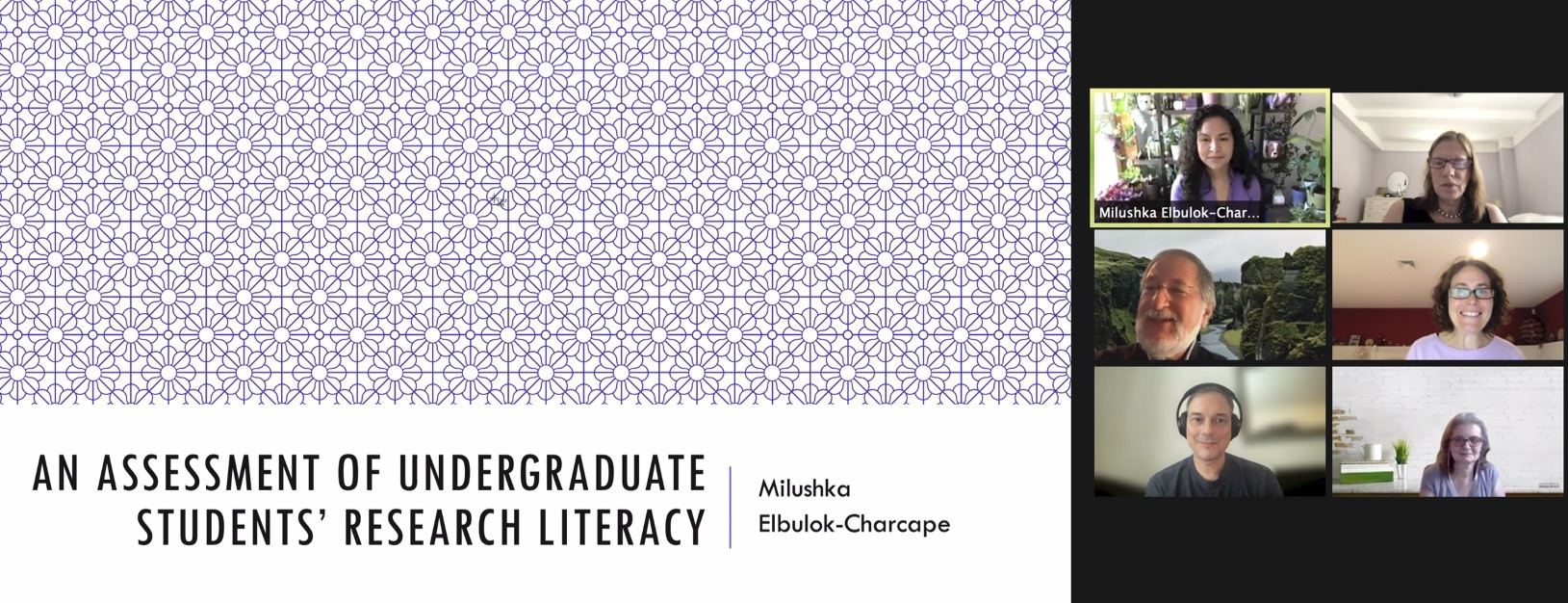 Milushka Elbulok-Charcape (top left) presents to her dissertation committee and readers.